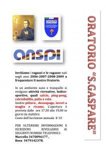 AVVISO PARROCCHIALE: ISCRIZIONI ORATORIO ANSPI