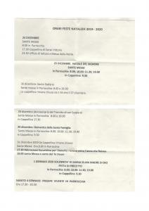 ORARI  FESTIVITA' NATALIZIE 2019-20
